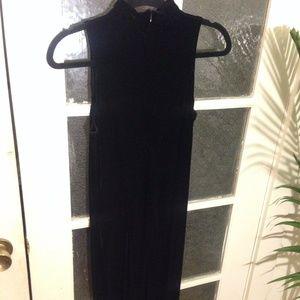 Vintage Velvet Sleeveless Turtleneck Maxi Dress